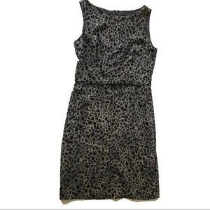 Ann Taylor Silk Gray cheetah print shift dress 2
